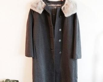 vintage mink fur trim Woodwards  coat
