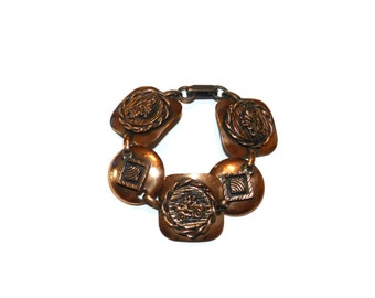 Copper Antique Car Disk Link Bracelet, Old Fashioned Car Bracelet, Antique Car Bracelet,