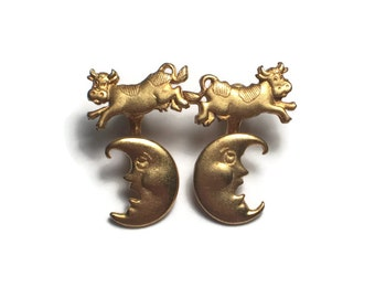JJ Cow Jumped Over The Moon Earrings, Nursery Rhyme, Teacher, Daycare, Jewelry, Gift