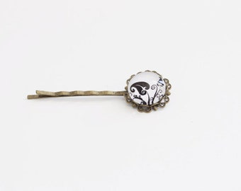 White Black Floral Cameo Bobby Pin