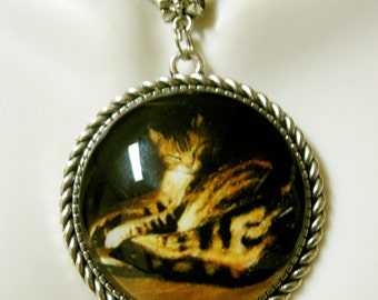 Steinlen cat pendant and chain - CAP25-006