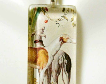 Greyhound tapestry pendant and chain - DGP12-014