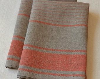 SET of 2 Natural LINEN Towels, Linen Tea Kitchen Striped Towels