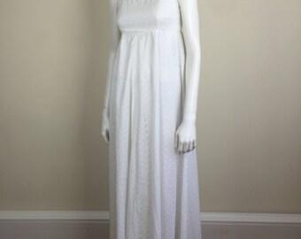 white eyelet empire waist maxi sun dress 70s