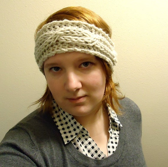 Chunky Cable Knit Headband Pattern : Knitted headband pattern - chunky cable headband - pdf - beginner headband pa...