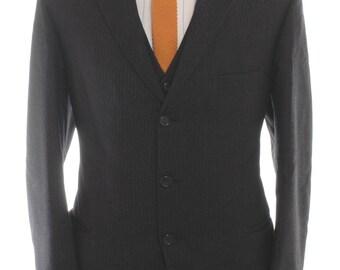 Vintage Rowans Dark Grey Pinstripe Three Piece Suit 40 M - www.brickvintage.com