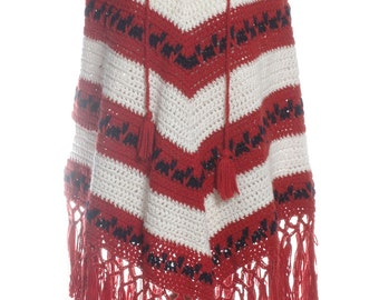 Vintage 1970's Hand Knitted Hooded Poncho - www.brickvintage.com