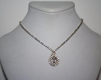 """16"""" Vintage Silver Toned Teardrop Necklace Crystal Rhinestones"""