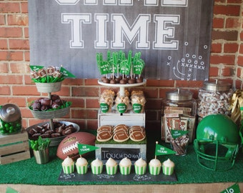 Tailgate Football Party Printable 36x48 Signs Engineer Prints Black and white chalkboard art InSTANT Download