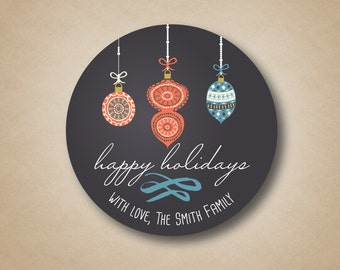 Holiday Gift Labels Chalkboard Ornaments Christmas Stickers Christmas Labels Christmas Tags Personalized Holiday Stickers Coral Blue