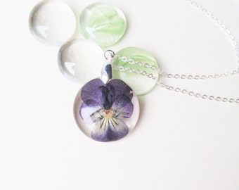 Real Pansy necklace, Botanical Resin Necklace, February birth month Resin Pendant, Pressed flower Jewelry, Violet flower