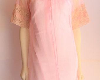 60's Vintage Pastel Pink Sheer Nylon Dressing Gown Robe