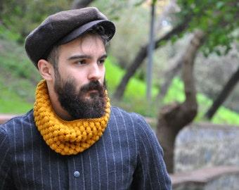 Mens Cowl Scarf Knit Cowl Chunky Cowl Men's Snood Infinity Scarf Men's Scarf Chunky Scarf for Men Circle Scarf - Mustard / NIKE