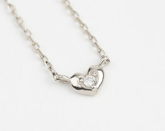 14k white gold heart necklace, tiny diamond heart necklace, dainty gold heart necklace with diamond, 14k yellow, rose gold, hea-n102-dia