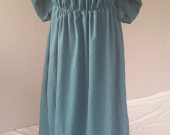 Teal Adjustable Drawstring Regency Day Dress Ladies Size XLarge-Ready to Ship
