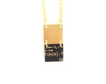 Geek | Golden necklace geometric two square - handmade