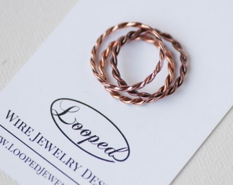 Copper Twist Ring Friendship Stacking Ring Copper Braided Ring