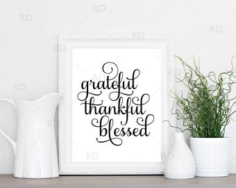 Grateful Thankful Blessed - PRINTABLE Wall Art / Grateful Wall Print / Grateful Printable / Typography / 2 for 1 Printable / Autumn Print