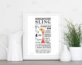 Singapore Sling Cocktail - PRINTABLE Wall Art / Cocktail Recipe Wall Art / Mixed Drink with Recipes Printable Wall Art / Cocktail Wall Art