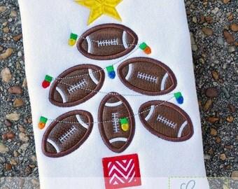 Football Christmas Tree Digital Machine Embroidery Applique Design 4 Sizes, applique christmas tree, football applique
