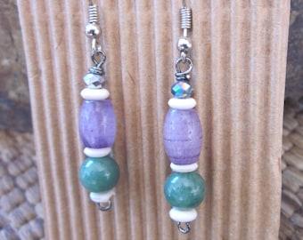 Amethyst earrings green aventurine earrings white bone beads bohemian earrings Lavish Lucy Designs boho jewelry yoga dangle earrings