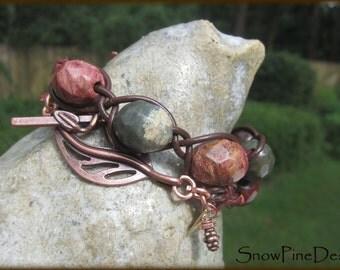 Braided Leather, Apple Jasper and Copper Bracelet