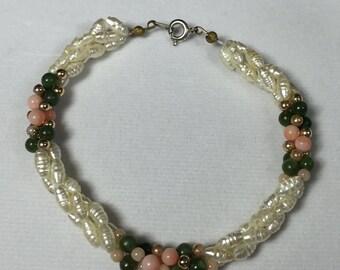 Coral Jade and pearl Beach bracelet