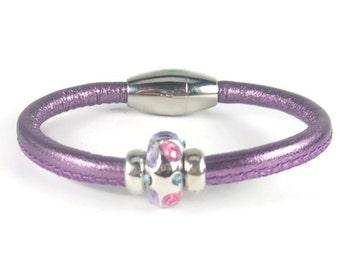 Girls Bracelet, Purple Leather Bracelet, Little Girls Jewelry, Childrens Jewelry, Girls Purple Bracelet, Childrens Bracelet. Girls Jewelry