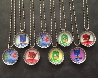 PJ Masks Bottle Cap Party favors (8) / contact us to add more for 2 dollars each