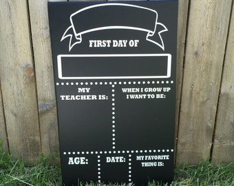 Handmade Personalized Reversible First and Last Day of School Chalkboard - First Day of School Chalkboard - Last Day of School Chalkboard