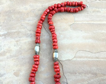 Statement necklace of red bamboo coral with Indian silver beads