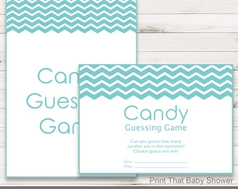 Baby Shower Games - Candy Guessing Game - Turquoise Chevron Baby Shower - Chevron Shower Games - Guess how many Candies - Turquoise Chevron