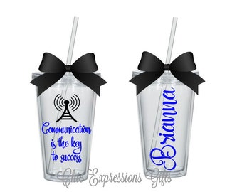 Communication is the key to success tumbler - personalized, perfect for communication majors/professionals