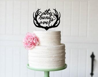 Wedding Cake Topper, Deer Antlers Wedding Cake Topper, The Hunt is Over Cake Topper, Hunting Wedding Cake Topper, Custom Cake Topper