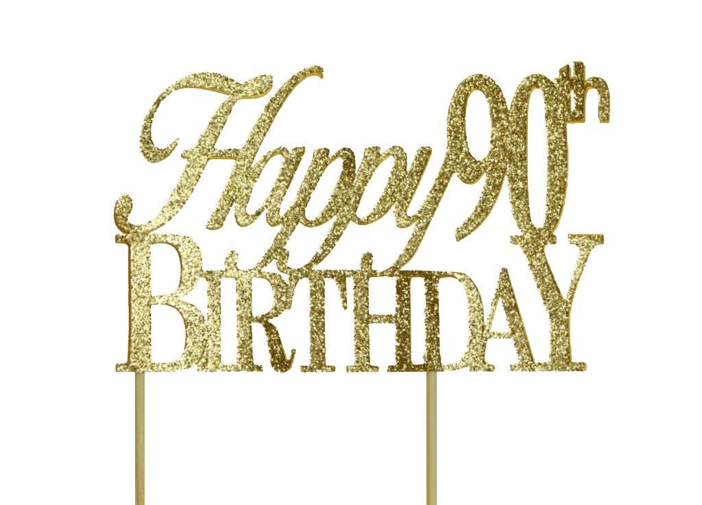 Gold Happy-90th-Birthday Cake Topper 1pc Birthday Gold