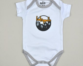 Baby one-piece / heavy metal baby / led zeppelin / bodysuit / one-piece / shortsleeved / white color / 6-9 months