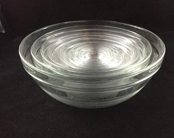 Vintage Duralex France, 11 Glass Nesting Bowls