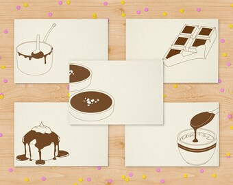 Set of 5 cards - chocolate cards - set of letterpress notecards - minimalist cards - blank card set - kraftille cards set - I love chocolate