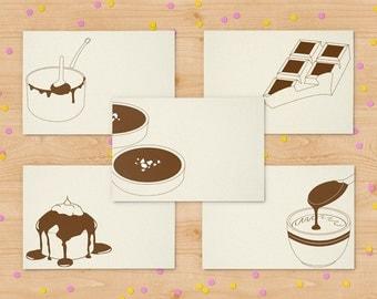 Set of 5 cards - chocolate cards - set of letterpress notecards - minimalist cards - blank card set - kraftille cards set - I love chocolate