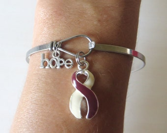 Head and Neck Cancer LOVE HOPE Customizable Awareness Charm Stainless Steel Bangle Bracelet With Optional Love Hope and Letter Charm