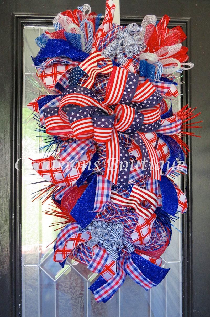 Xl July 4th Wreath Fourth Of July Wreath Door Swag Summer
