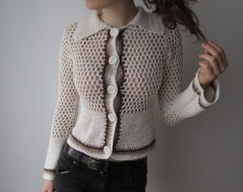 Romantic Crochet Cardigan Women's Summer Festival Sweater Ivory White Boho Hippie Cardigan Small Size