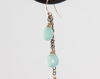 Oxidized Sterling Silver Aqua Chalcedony and 14kt Gold-fill Earrings