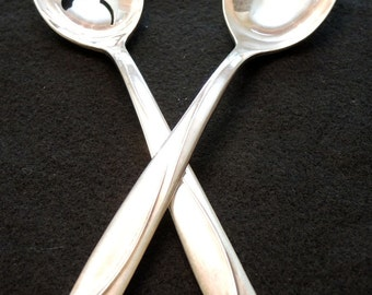 International Deep Silver Anniversary Rose Serving Spoons Vintage