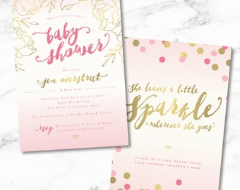 Golden Peonies and Blush Pink Calligraphy Baby Shower Invite