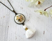 White Neutral Natural Tassel Hand Embroidered Necklace Pendant - Bouquet Yellow, Tan Flowers - Cotton Fabric  - Antiqued Bronze Gold