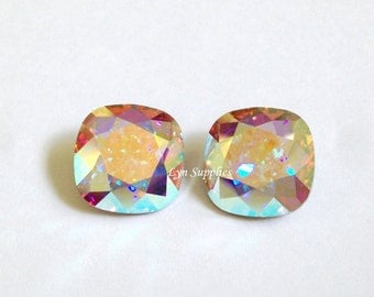 4470 CRYSTAL AB 12mm Swarovski Crystal Fancy Stone Cushion Cut, 2 pieces or 6 pieces