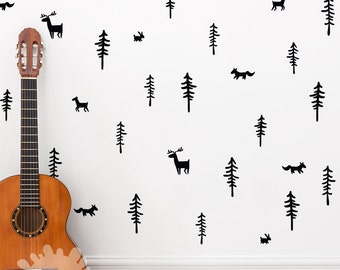 Woodland Wall Decal / Forest Wall Decal / Fox Wall Decal / Tree Wall Decal / Nursery Wall Decal