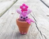 Pink Bunny Rabit Floral BUDdies Series 1 - plant creatures polymer clay