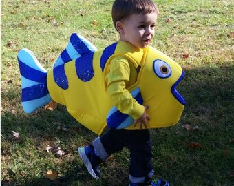 Flounder Fish Body Costume Satin covered foam body arm holes, fully lined